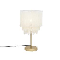 Orientalische Tischlampe Gold Creme Schirm mit Fransen - Franxa