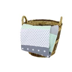 Babydecke Babydecke Mint Grau 70x100 cm als Kinderwagendecke & Spieldecke (Made in EU), ULLENBOOM ®, Aus hochwertiger Baumwolle & Fleece, Design: Sterne, Patchwork 70 cm x 100 cm