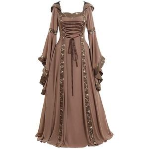 Damen Mittelalter Prinzessin Kleid Bodenlang Fasching Cosplay Kostüm Kleid Bodenlangen