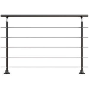 Modernes Geländer-Set in Anthrazit aus Aluminium mit Edelstahlrohren - Aufgesetzte Montage - Länge 150 cm (kürz- und verlängerbar) – Treppengeländer, Terrassengeländer - Innen- und Außenbereich