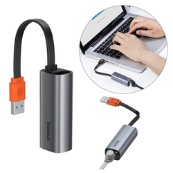 Baseus Baseus USB A externer Netzwerkadapter Splitter HUB RJ45 port Gigabit Ethernet LAN Netzwerk Adapter für Smartphone, Laptop,Notebook in grau HUB
