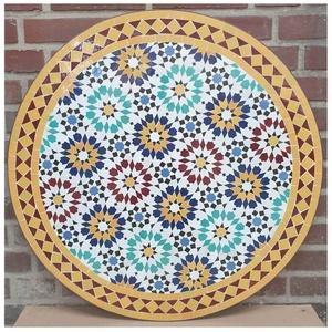 Casa Moro Gartentisch Mediterraner Gartentisch marokkanischer Mosaiktisch Ø 80cm Ankabut Gelb rund Höhe mit Gestell 73cm, Kunsthandwerk aus Marrakesch, Dekorativer Balkontisch Bistrotisch Beistelltisch, MT2233, Handmade