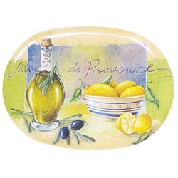 Lashuma Tablett Provence, Melamin, Geschirrtablett italienisch, Ovales Serviertablett 28 cm x 40 cm x 1.5 cm