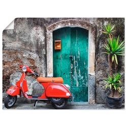 Artland Wandbild Roter Motorroller, Motorräder & Roller (1 Stück) 80 cm x 60 cm