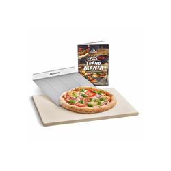 BURNHARD Pizzastein Universal für Backofen & Grill, Cordierit, 45 x 35 x 1.5 cm inkl. Pizzaschieber gelb 35 cm x 1.5 cm