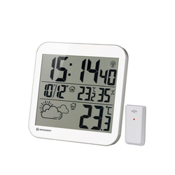 BRESSER Wanduhr MyTime LCD Wetter-Wanduhr weiß