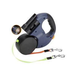 TOPMELON Hundeleine, ABS + Nylon, Doppelte Einziehbare Hundeleine, 360 ° Drehbar Mit LED Licht