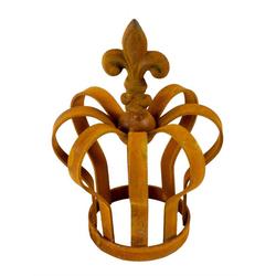 BigDean Dekoobjekt Metallkrone Lilie shabby Landhaus ca. 14 x 9,5 cm rost Antik Gartenkrone Rostkrone