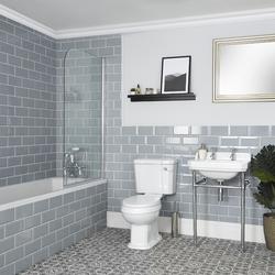 Bad Set mit Einbau-Badewanne, WC und Stand-Waschbecken - Richmond