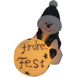 JOKA international LED-Kerze LED Kerze Schneemann mit Schneekugel Frohes Fest 15291 (1 Stück), LED Kerze als Schneemann mit Frohes Fest