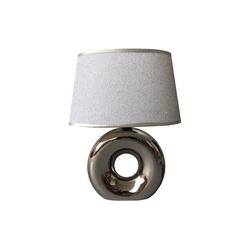 dynamic24 Nachttischlampe, Homea Keramik Tischlampe 30cm Tischleuchte Glitzer Lampe Leuchte Chrom Optik