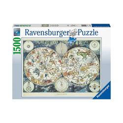 Ravensburger Puzzle Puzzle Weltkarte mit fantastischen Tierwesen,, Puzzleteile