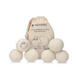 Navaris Griff, Trocknerbälle 6er Pack ökologisch - Ball für Wäschetrockner aus 100% Wolle - Umweltschonende Filzbälle - Bio Weichspüler Alternative