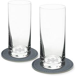Contento Longdrinkglas (2-tlg), Eiskristall, 400 ml, inkl. 2 Untersetzern