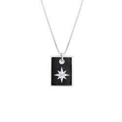 KUZZOI KUZZOI Halskette Dog Tag Militär Emaille Schwarz Stern 925 Silber