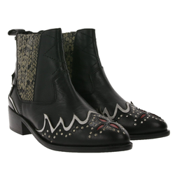 Pepe Jeans Pepe Jeans Chiswick Easy Stiefeletten ausgefallene Damen Western-Stiefel Winter-Schuhe Schwarz Stiefelette
