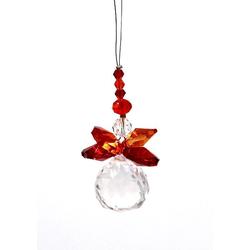 Suncatcher Engel orange 5 cm mit Kristallkugel