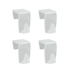 Metaltex Türhaken/Fensterhaken, 4-teiliges Set, Kleiderhaken für Türen, Schranktüren und Fenster, ideal für Fensterdekoration, Material: Kunststoff, transparent