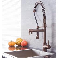 Spiralfeder-Küchenarmatur mit Hahn und ausziehbarer Spülbrause – geölte Bronze – Como, von Hudson Reed
