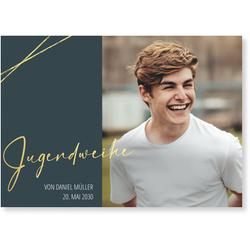 Einladungskarten Jugendweihe (10 Karten) selbst gestalten, Goldene Jugendweihe in Grau - Grau