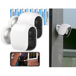 2er-Set IP-Überwachungskamera mit 8 Akkus, Full HD, WLAN & App, IP54