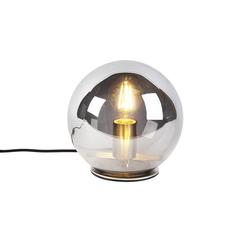 Art Deco Tischlampe Stahl mit Rauchglas 20 cm - Pallot