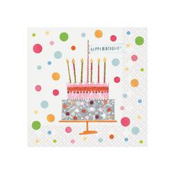 stewo Papierserviette Geburtstagstorte, (20 St), 33 cm x 33 cm