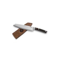 BURNHARD Steakmesser Messer mit Pakka-Holzgriff, inkl. Messerscheide aus Leder, Küchenmesser braun 32.5 cm