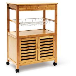 relaxdays Küchenwagen Küchenrollwagen JAMES XL mit Schrankfach