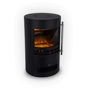 Klarstein Brixen Elektrischer Kamin mit Flammeneffekt - Elektrokamin, E-Kamin, 900/1800 Watt, stufenloses Thermostat, LED Backlight, Überhitzungsschutz, 3D-Flame-Effekt, InstaFire, schwarz