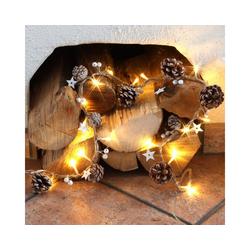 MARELIDA LED-Lichterkette Kiefernzapfen und Holzsternen am Seil - 20 warmweiße LED - L: 0,9m, 20-flammig