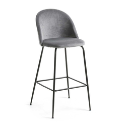 Barhocker in Grau Samt Retro Design (2er Set)