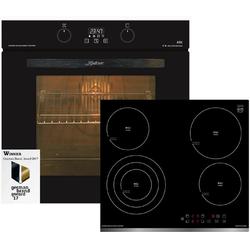 Kaiser Küchengeräte Backofen-Set EH 6361 S + KCT 6703, Einbau-Backofen 60cm in Schwarz /Elektro Backofen/Elektro kochfeld 60 cm/Autark/Drehspieß/Grill/Heißluft/Selbstreinigung