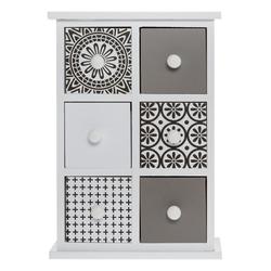 elbmöbel Schmuckregal Minikommode Schmuckkommode Holz Tischkommode Retro Design, Organizer: 6 Schubladen 21x30x9 cm moderner Muster Mix