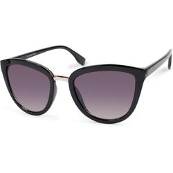styleBREAKER Sonnenbrille Cateye Sonnenbrille mit Metallsteg Getönt schwarz