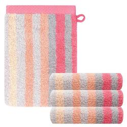 Lashuma Handtuch Set Pure (Set, 4-tlg), 4 Stück Weiche Waschlappen, Gestreifte Frotteetücher 15x21 cm rosa