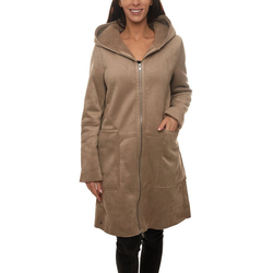 GREYSTONE Wintermantel GREYSTONE Kapuzen-Mantel puristischer Damen Winter-Mantel in Veloursleder-Optik Outdoor-Jacke Taupe L