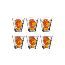 LEONARDO Kinderbecher BAMBINI Kinderbecher Löwe 120ml 6er Set (6-tlg), Glas