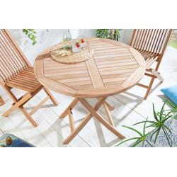 riess-ambiente Gartentisch EMPIRE TEAK 90cm braun, Massivholz · Esstisch · klappbar · rund · Holztisch · Teakholz braun