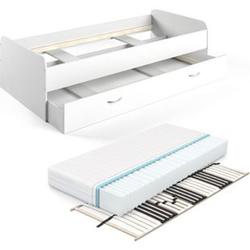 VitaliSpa Bett Enzo Jugendbett mit Gästeliege Funktionsbett 90x200 cm Weiß Lattenrost + Matratze
