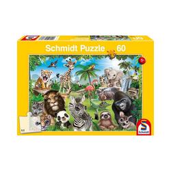 Schmidt Spiele Puzzle Puzzle Animal Club, Wildtiere, 60 Teile, Puzzleteile