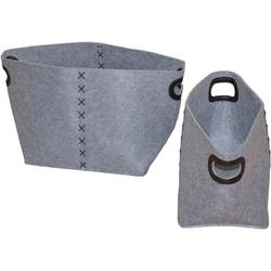 Aufbewahrungskorb, (Set, 2 St.) grau Körbe Boxen Regal- Ordnungssysteme Küche Ordnung Aufbewahrungskorb