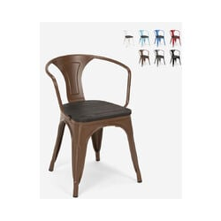 Chaises design industriel en bois et métal de style Tolix Cuisines de bar Steel Wood Arm | Marron