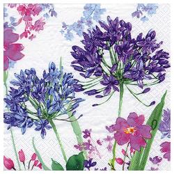 Linoows Papierserviette 20 Servietten, Sommer, Blauer Agapanthus und Bunte, Motiv Sommer, Blauer Agapanthus und Bunte Blumen