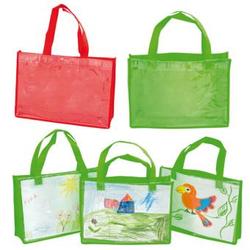 Kunststofftaschen mit Klarsichthülle, quer - rot - Kunststofftaschen mit Klarsichthülle, quer - rot