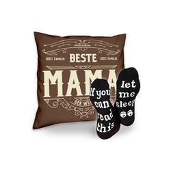 Soreso® Dekokissen Kissen Beste Mama & Sprüche Socken Sleep, Muttertagsgeschenk Mama Muttertag braun