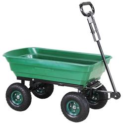 miweba Bollerwagen Dumper, Kippwagen Handwagen - Kippfunktion - Lenkachse - Luftreifen - 300 Kg Traglast grün