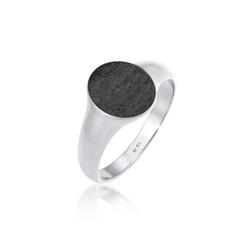Kuzzoi Silberring Basic Cool Siegelring Herren Matt 925 Silber, Siegelring schwarz 58