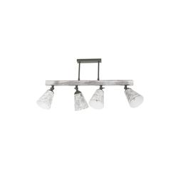 Licht-Erlebnisse Deckenstrahler AGAP Deckenlampe Shabby Chic Weiß Grau drehbar Metall Holz Lampe