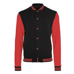 Herren Sweat College Jacke | Build Your Brand black/red L